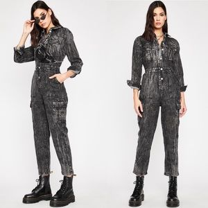 SIGNATURE 8 Black Denim Jean Jumpsuit NWOT